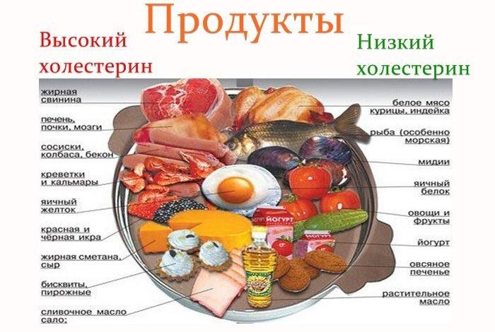 Продукты с низким и высоким содержанием холестерина