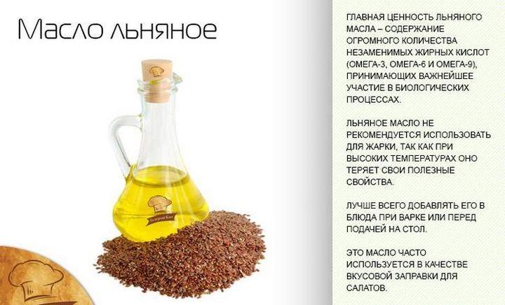 масло льна полезно добавлять и в пищу, заменяя прочие масла
